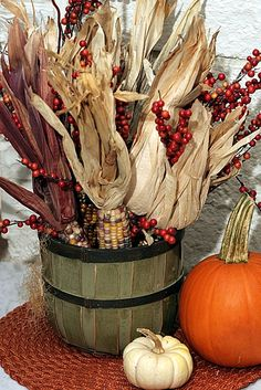 Harvest -- I already have everything, I just need to stain the basket. dri corn, centerpiec, pumpkin, fall decorations, fall decorating, harvest decorations, wire baskets, stain, front porches