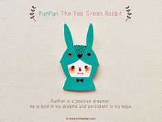 PunPun The Sea Green Rabbit  Handmade Shrink Plastic by minifanfan, $10.99