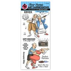 You'll be singing out loud when you get to create with the Perfect Duet Clear Stamp Set designed by Bonnie Krebs. The set includes 11 photopolymer stamps from Anniversary Quotes Funny, Happy Anniversary, Anniversary Cards, Art Impressions Stamps, Fancy Nancy, Marianne Design, Simon Says Stamp, Digi Stamps, Clear Stamps