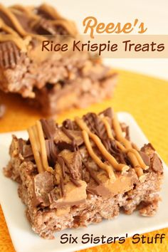 These Reese\'s Rice Krispie Treats are loaded with goodness! | SixSistersStuff.com