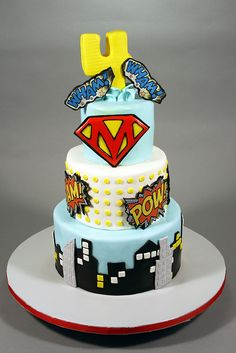 Vintage Superhero cake ** I like the idea of this one for Chayton's party since it's an overall theme not a specific superhero.