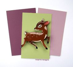 Prancing Pudu fawn Deer Vintage-Inspired Novelty Brooch Pin by TangerineMenagerie on Etsy Diamonds In The Sky, Holiday Gifts, Vintage Inspired, Deer, Pin Up, Hand Painted, My Love, Clear Resin, Etsy