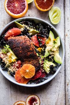 Citrus, Avocado And Blackened Salmon Salad