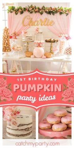 Take a look at this stunning pumpkin 1st birthday party ! The dessert table is absolutely gorgeous!  See more party ideas and share yours at CatchMyParty.com #catchmyparty #partyideas #pumpkinparty #fall #pumpkins #pumpkin1stbirthdayparty Halloween 1st Birthdays, Halloween First Birthday, Fall 1st Birthdays, Pumpkin 1st Birthdays, Fall Birthday Parties, Paris Birthday, Summer Birthday, Pumpkin Themed Birthday, 1st Birthday Foods