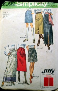Vintage 70s Sewing Pattern Simplicity 9099 Jiffy Misses' Skirt Size 14 Waist 27 Inches Complete by GoofingOffSewing on Etsy