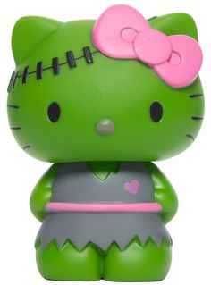 What do Hello Kitty and Frankenstein have in common? Vinyl is what! Check out this mean green Hello Kitty figurine dressed in a gray and pink torn dress and stitches across her head. This is the perfect gift for your monster collecting friends or jus Hello Kitty Characters, Hello Kitty Christmas, Hello Kitty Collection, All Things Cute, Random Things, Mystery Minis, Kawaii Cute, Cold Porcelain, Frankenstein