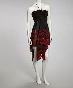 Take a look at this Black & Red Handkerchief Halter Dress by Shoreline Wear on #zulily today!