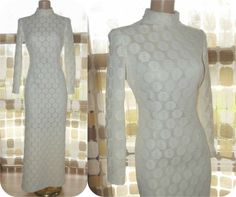 Vintage 60s 70s White Crochet Lace Formal Gown