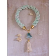 Statement rope necklace with green agate slice and tassel