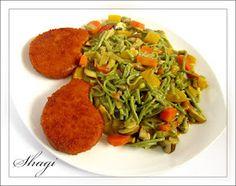 Buchweizen- Nudeln mit Gemuese und Veggie- Schnitzel
