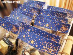 Eid goodie bags - love the bag labels.