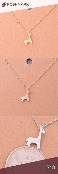 """Giraffe Necklace Very cute! I'm really into these small necklaces for some reason. Gold tone mini giraffe pendant necklace. Short necklace about 16"""" chain. Also available in rose gold tone. This item is available! Jewelry Necklaces"""