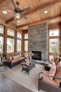 Covered porch ideas decor inspiration on pinterest for Sunrooms with fireplaces