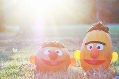 Bert & Ernie pumpkins we made last fall with yarn, pipe cleaner, & felt. :)