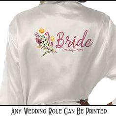 Personalised Ivory Satin Robe/ Bridal by InspiredCreativeGB