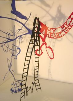 Ladderkiss papercut for Liberty window, Rob Ryan Rob Ryan, Cut Paper Illustration, Call Art, Paper Artist, Ladders, Paper Cutting, Liberty, Mosaic, Jokes