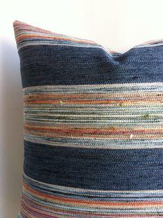 One Indigo Stripe Designer Zipper Pillow Cover 18x18 24x24 26x26 or lumbar Pillow cover Red Coral Orange Blue Green Denim Cushion cover