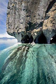 Marble caverns of lago carrera, xi region, chilean patagonia