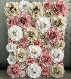 Paper rose backdrop. Monet theme. Available to rent in Tampa Bay Area. Paper Petals Tampa.#rosewall #flowerwall