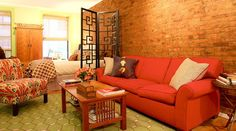 ideas for incorporating our burnt orange couch and loveseat.