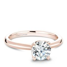 Noam Carver Rose Gold Solitaire Engagement Ring with Diamond Crown (0.13 CTW) - 5.5
