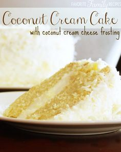 This Coconut Cream Cake is a coconut lovers dream! It is a coconut cake, with a rich and creamy coconut cream cheese frosting, sprinkled with toasted coconut. Coconut Desserts, Coconut Recipes, Just Desserts, Baking Recipes, Delicious Desserts, Moist Coconut Cake Recipe, Frosting Recipes, Cake Recipes, Dessert Recipes