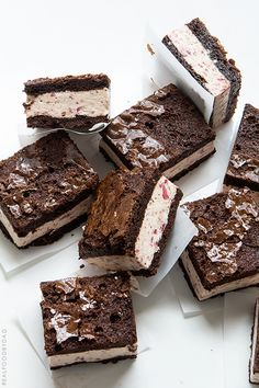Strawberry Ice Cream Brownie Sandwiches (no-churn ice cream recipe)