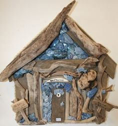 Large Driftwood Beach Hut decorated with Shells by Karen Watson