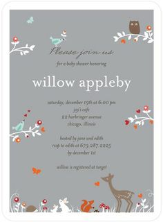 Woodland Wonder - Baby Shower Invitations - Petite Alma in Smoke Gray. A beautiful invite in a soft color palette. #TopPin