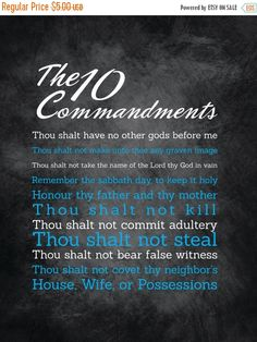 """80% Until New Year - 10 Commandments Art - 11X14 - Instant Download - Digital Artwork by mormonlinkshop  1.00 USD  Let the commandments of God inspire others. Hang this now! """"For this is the love of God that we keep his commandments. And his commandments are not burdensome"""" - 1 John 5:3 INCLUDED IN THIS LISTING: This listing includes the 10 Commandments art image shown above in (8) different color schemes (use the same chalkboard background for all versions and just change the color of the…"""