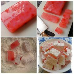 Home Made Rose Turkish Delights (Lokum) - Turkish Recipes Easy Candy Recipes, Sweet Recipes, Dessert Recipes, Homemade Sweets, Homemade Candies, Home Made Candy, Healthy Dinner Recipes, Cooking Recipes, Incredible Edibles