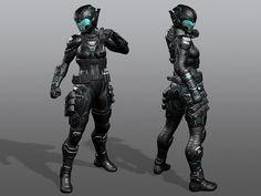 ArtStation - Sci-Fi Armored Female, AJ Trax