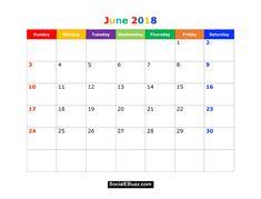 June 2018 Calendar Printable Template, June Calendar 2018, June 2018 Printable Calendar, June 2018 CalendarTemplate, June 2018 Calendar with Holidays  http://socialebuzz.com/june-2018-calendar-printable-template/