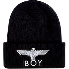 Boy London BOY Eagle appliqué knitted beanie ($38) ❤ liked on Polyvore featuring accessories, hats, beanies, head, urban hats, eagles beanie, boy london hat, boy london beanie and boy london
