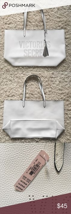 Victoria's Secret Leather Tote * Never been used * Comes with original tags * Removable tassel * Easy to clean Victoria's Secret Bags Totes
