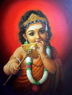 Lord Muruga is widely worshiped by many from all around the world. He is the son of Lord Shiva and Goddess Parvati and is the younger brother of Lord Ganesha. Shiva Art, Shiva Shakti, Hindu Art, Krishna Art, Radhe Krishna, Krishna Leela, Shri Hanuman, Krishna Painting, Om Namah Shivaya