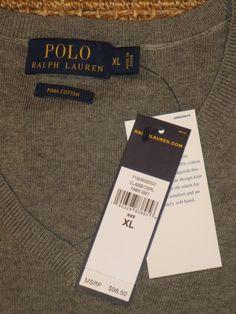 POLO  RALPH  LAUREN  MEN'S  SWEATER  V - NECK  PIMA COTTON XL  X LARGE  $98 TAG #PoloRalphLauren #VNeck