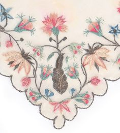 Detail embroidery, fichu, 1770s. Cream silk gauze, the borders worked in metal thread and silks with carnations, dog roses, borage, with silver tendrils and foliage.