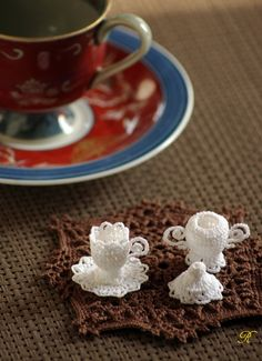 mini crochet tea set