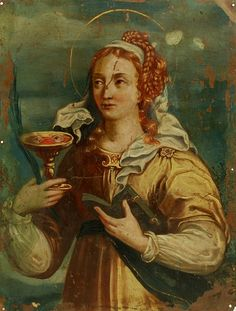 "theraccolta: "" Santa Lucia, Century Spanish Colonial Oil on Copper "" Santa Lucia, Lost Pictures, Antique Paint, St Francis, Spanish Colonial, Sacred Art, Religious Art, 18th Century, Copper"