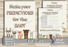 Woodland Baby Prediction  Printable Baby by DigitalitemsShop