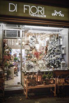 Di Fiori flower shop's Christmas window display
