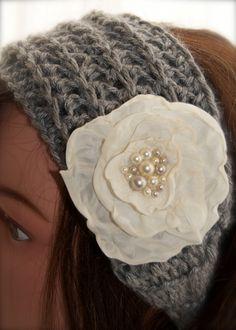 Grey Crocheted Headband.