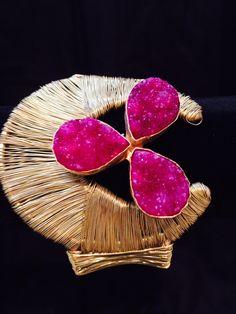 Sukan's hot pink Druzy cuff.  Pop of color spring 2014.