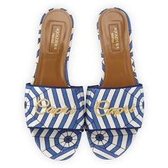 Aquazzura Capri Embroidered Flat Mule Sandal ($450) ❤ liked on Polyvore featuring shoes, sandals, blue pattern, shoes sandals, blue satin flats, blue flat shoes, flat heel sandals, open-toe mules and open toe mule sandals