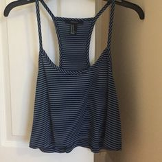 Nautical striped tank top Dark blue and light blue striped tank top, technically a size medium but fits more like a small, only worn once Forever 21 Tops Tank Tops
