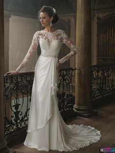 Long Sleeves Chiffon with Lace Long sleeves Winter Wedding Dress - Wedding Dresses 2015 - Wedding Dresses - Wedding & Events