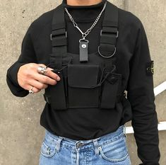 Black Hip Hop Streetwear Military Chest Rig Bag For Men Functional Waist Packs Adjustable Pockets Waistcoat fashion Chest Bags Fashion Mode, Look Fashion, Men's Fashion, Fashion Outfits, Fashion Design, Fashion Trends, Fashion Advice, Unique Fashion, Stylish Outfits