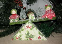 ADORABLE BETHANY LOWE CHRISTMAS WIND UP TEETER TOTTER Moving  NEW