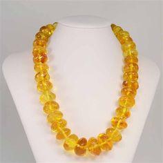 Collar grande de ámbar natural de color amarillo